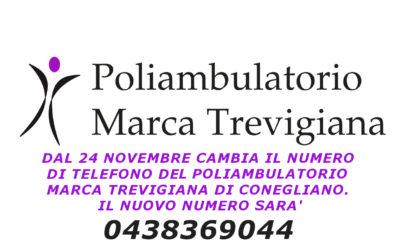 Dal 24 novembre cambia il numero di telefono del Poliambulatorio Marca Trevigiana